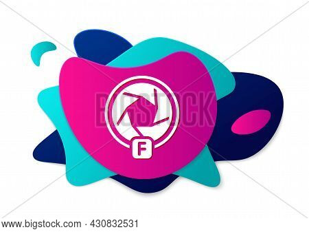 Color Camera Shutter Icon Isolated On White Background. Abstract Banner With Liquid Shapes. Vector