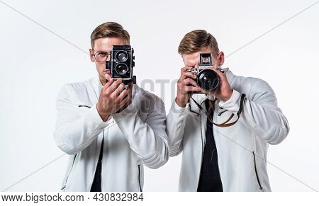 Young Twin Brothers Photographer With Similar Appearance Make Photo With Retro Camera, Photography