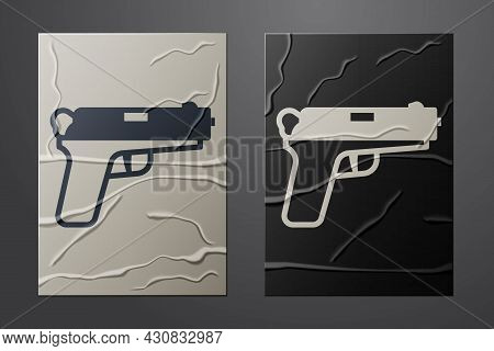 White Pistol Or Gun Icon Isolated On Crumpled Paper Background. Police Or Military Handgun. Small Fi