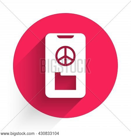 White Peace Icon Isolated With Long Shadow. Hippie Symbol Of Peace. Red Circle Button. Vector