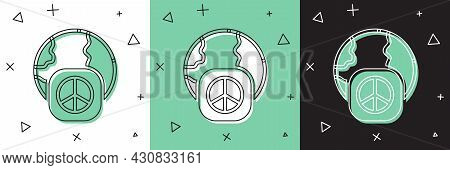 Set International Day Of Peace Icon Isolated On White And Green, Black Background. World Peace. Vect