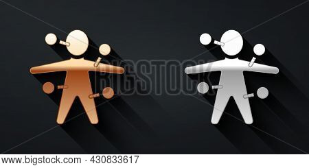 Gold And Silver Voodoo Doll Icon Isolated On Black Background. Long Shadow Style. Vector