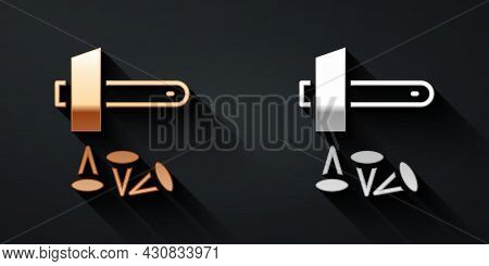 Gold And Silver Crucifixion Of Jesus Christ Icon Isolated On Black Background. Hammer And Old Nails.