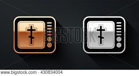 Gold And Silver Online Church Pastor Preaching Video Streaming Icon Isolated On Black Background. On