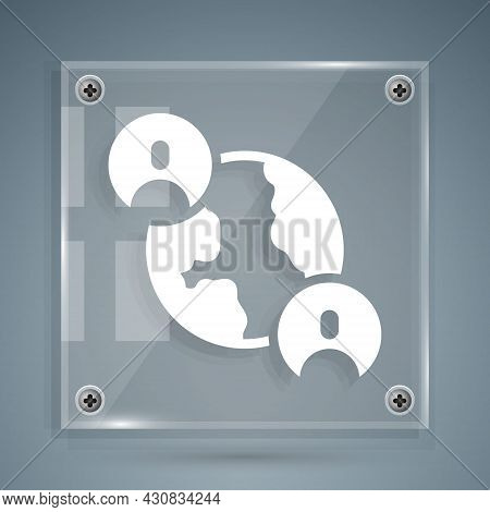 White Bff Or Best Friends Forever Icon Isolated On Grey Background. Square Glass Panels. Vector