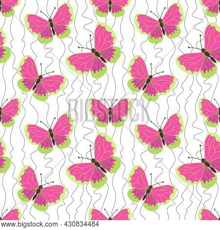 Vector Creative Seamless Pattern With Butterflies And Winding Lines. Beautiful Bright Cute Butterfli