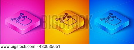 Isometric Line Knitting Icon Isolated On Pink And Orange, Blue Background. Wool Emblem With Knitted