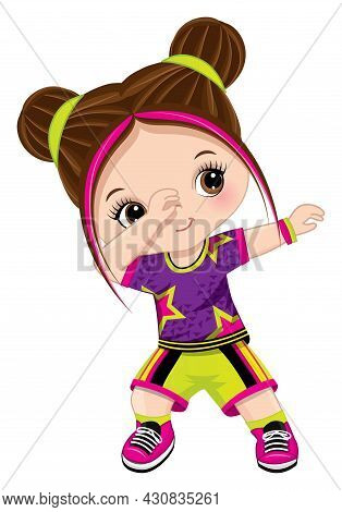 Cute Little Girl Wearing Purple, Pink And Green Sport Outfit Dancing Hip Hop. The Girl Is Brunette W