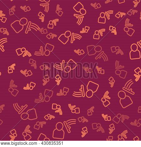 Brown Line Police Beat Human Icon Isolated Seamless Pattern On Red Background. Abuse Of Authority. P