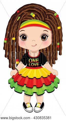 Cute Little Girl Wearing Rastafarian Ruffled Dress And Headband. Little Brunette Girl With Hazel Eye