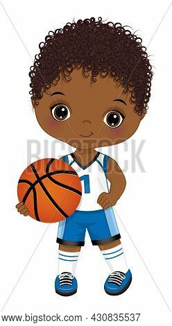 Cute Little Black Boy Wearing Blue And White Sport Outfit Playing Basketball. Little Boy Is Cute And