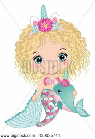 Cute Little Unicorn Mermaid Has Pink And Turquoise Fishtail And Horn With Flowers. Baby Mermaid Is B