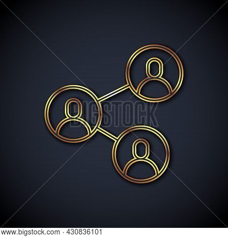 Gold Line Bff Or Best Friends Forever Icon Isolated On Black Background. Vector