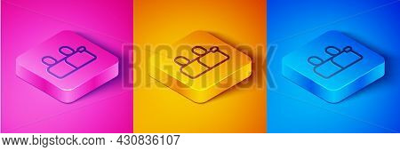Isometric Line Bff Or Best Friends Forever Icon Isolated On Pink And Orange, Blue Background. Square