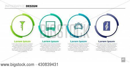 Set Drum And Drum Sticks, Voice Assistant, Tambourine And Treble Clef. Business Infographic Template