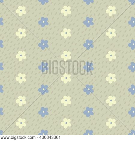 Beige, Yellow And Blue Flower Stripes Seamless Repeating Pattern. Beautiful Vector Design Perfect Fo