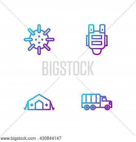 Set Line Military Truck, Medical Tent, Naval Mine And Bulletproof Vest. Gradient Color Icons. Vector