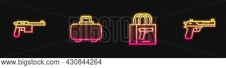 Set Line Buying Gun Pistol, Mauser, Weapon Case And Desert Eagle. Glowing Neon Icon. Vector
