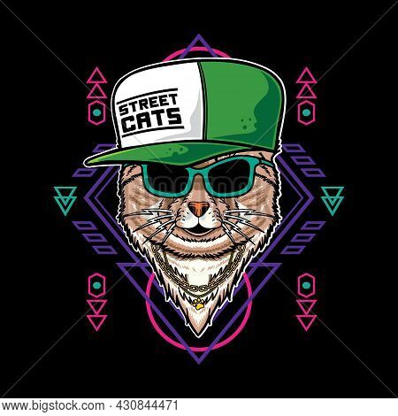 Vector Illustration Of Cat Cartoon With Vintage Retro Hip Hop Rapper Style In Black Background. Good