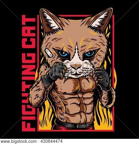 Vector Graphic Illustration Of Cat Fighter Cartoon With Vintage Retro Street Martial Art Style In Bl