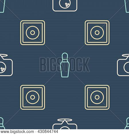 Set Line Location With Bowling Ball, Billiard Chalk And Bowling Pin On Seamless Pattern. Vector