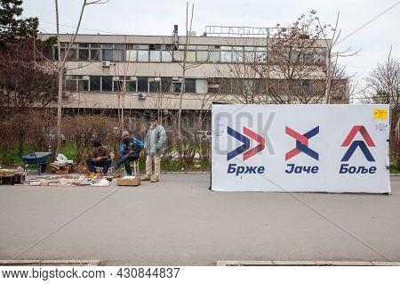 Novi Sad, Serbia - March 11, 2017: Poster For Sns, Serbian Progressive Party, Srpska Napredna Strank