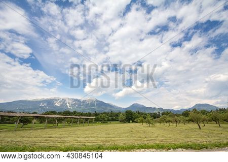 Panorama Of The Plains Of Gorenjska Carniola, In Bled, Slovenia, With Fields, Farmlands And Farms An