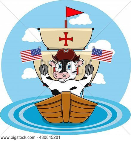 Happy Columbus Day America With Cute Cow And Ship In Sea, Cartoon, Mascot, Animals, Character, Vecto