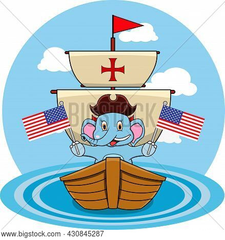 Happy Columbus Day America With Cute Elephant And Ship In Sea, Cartoon, Mascot, Animals, Character,