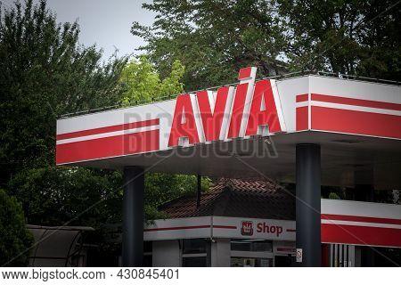 Belgrade, Serbia - June 6, 2021 Logo Of Avia International On One Of Its Gas Stations Of Belgrade. A