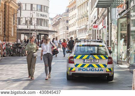 Ljubljana, Slovenia - June 14, 2021: Slovenian Police Car Standing In A Pedestrian Way While Patroll