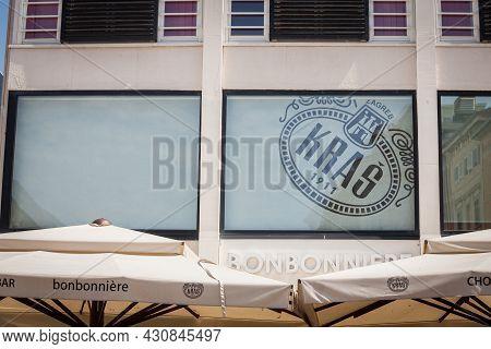 Rijeka, Croatia - June 18, 2021: Kras Logo In Front Og Their Bonbonniere Their Shop In Rijeka. Kras