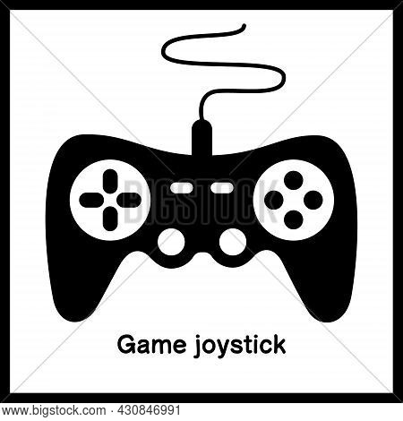 Joystick For Computer Game Or Video Game, Controller Or Console For Playing Device In Black Frame. E