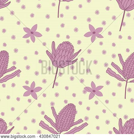 Yellow And Pink Protea And Spots With Delicate Flowers Seamless Repeating Pattern. Beautiful Vector