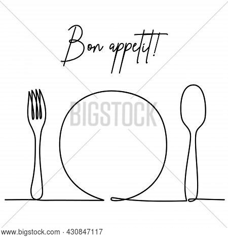 Cutlery As A Serving In A Restaurant Or Cafe - Fork, Plate, Spoon. Bon Appetit. Continuous One Line