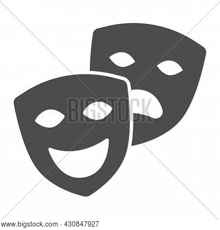 Comedy And Tragedy Masks, Theatrical Masks Solid Icon, Theater Concept, Happy Sad Face Vector Sign O