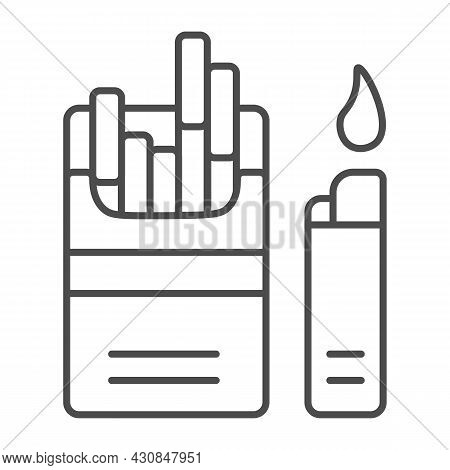 Pack Of Cigarettes With Lighter Thin Line Icon, Tobacco Concept, Sigs, Tobacco, Siggies Vector Sign