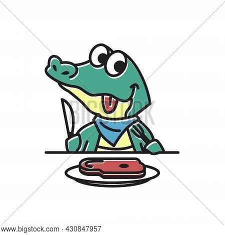 Crocodile Alligator Eating Meat Funny Cute Character Cartoon Mascot