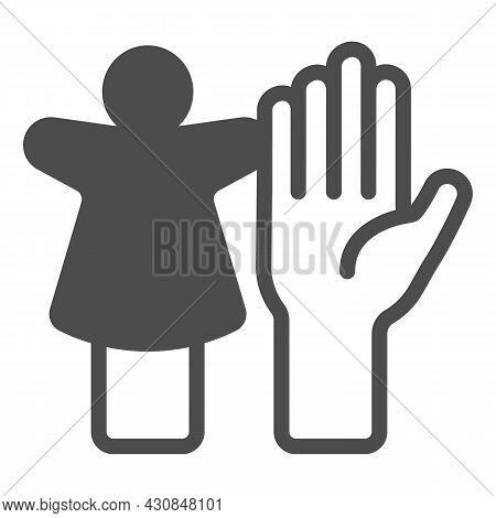 Puppet Doll And The Palm Of The Hand Solid Icon, Theater Concept, Puppet Theatre Vector Sign On Whit