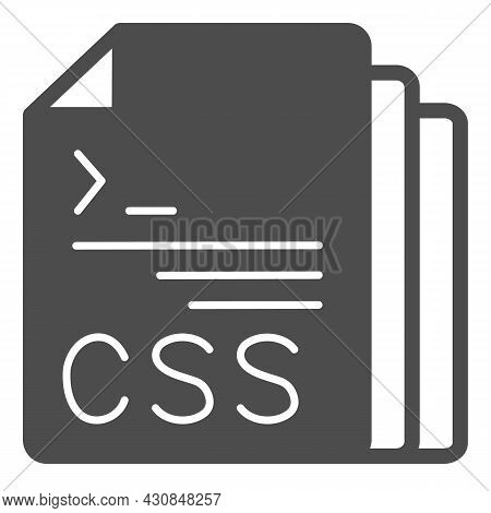 Css Code Document Files Solid Icon, Programming Concept, Css Doc Vector Sign On White Background, Gl