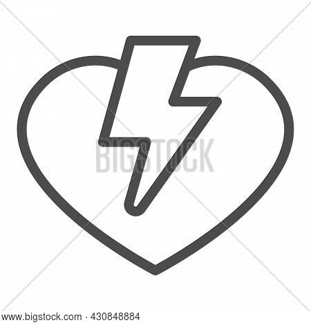 Heart And Lightning Line Icon, Dating Concept, Love Thunder Vector Sign On White Background, Outline