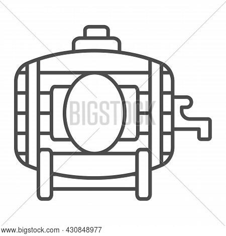Wooden Wine Barrel With Tap Thin Line Icon, Winery Concept, Winery, Brewery Vector Sign On White Bac