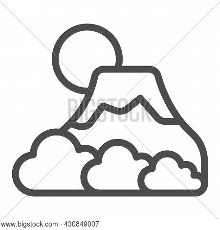Mount Fuji With Fog, Sun And Snow, Volcano Line Icon, Asian Culture Concept, Mountain Vector Sign On