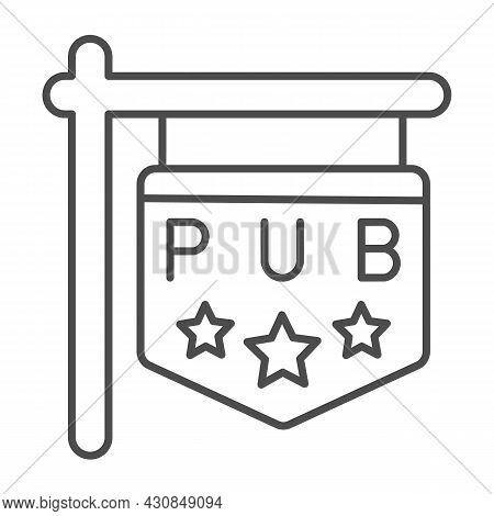 Pub Signboard With Stars, Sign, Signage Thin Line Icon, Bars And Pubs Concept, Pub Emblem Vector Sig