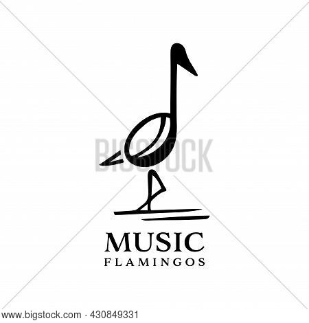 Flamingo Bird Music Logo Isolated On White Background. Flamingo Bird Combination Musical Notation. M