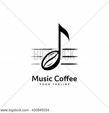 Music Coffee Logo Isolated On White Background. Coffee Beans And Music Notation. Musical Notes Icon