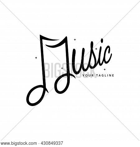 Music Logo Isolated On White Background. Hand Drawn Music Note Typography. Musical Notes Icon Trendy