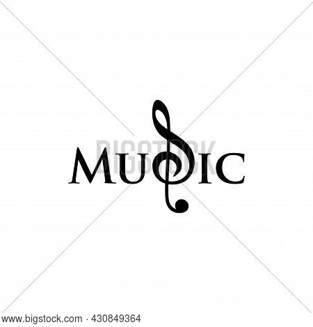 Simple Music Logo Isolated On White Background. Reverse G Key Musical Notes. Music Clef Logo G In Mu