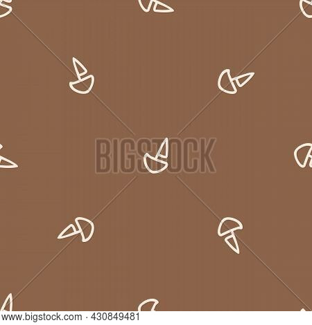 Seamless Background Sail Boat Gender Neutral Pattern. Whimsical Minimal Earthy 2 Tone Color. Kids Nu