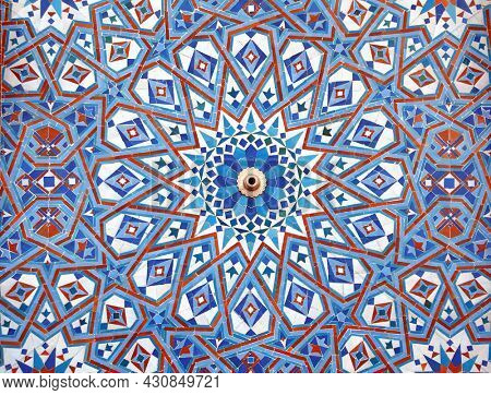 Detail of mosaic wall in Hassan II Mosque, Casablanca, Morocco, North Africa